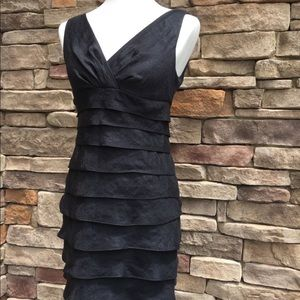 Black sheen ruffle Cocktail dress.